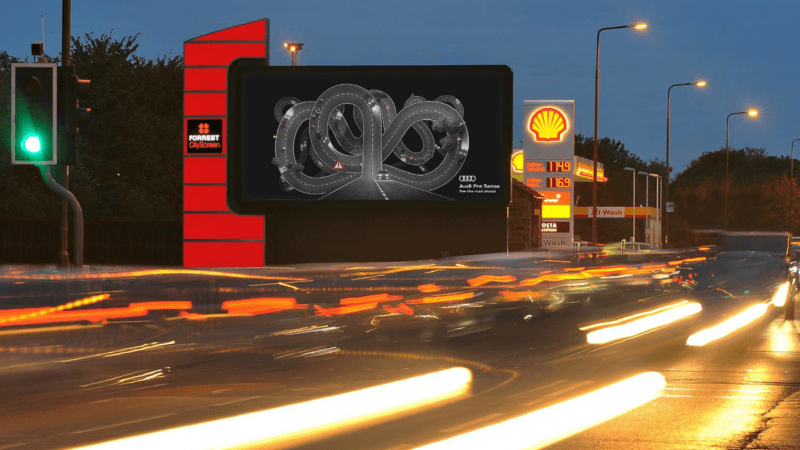A digital billboard for an Audi campaign, displaying images based on data feeds.