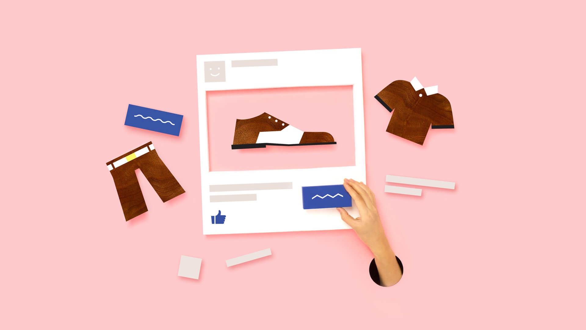 MailChimp graphic, depicting creation of a Facebook ad.